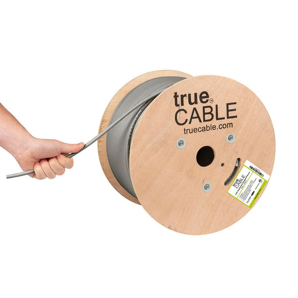 Cat6A Shielded Plenum Ethernet Cable Gray 1000ft trueCABLE Hand Pulling