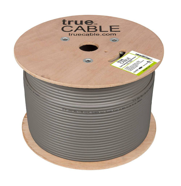 Cat6A Shielded Plenum Ethernet Cable Gray 1000ft trueCABLE Reel No Wrap