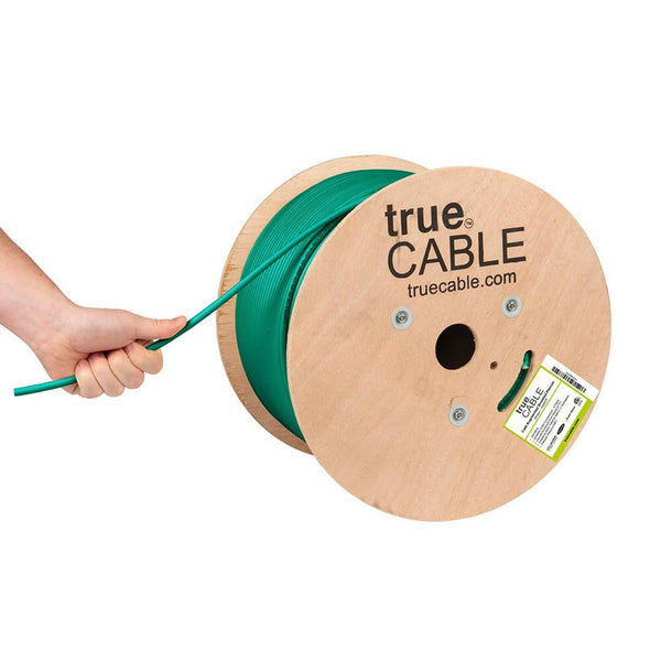 Cat6A Shielded Plenum Ethernet Cable Green 1000ft trueCABLE Hand Pulling