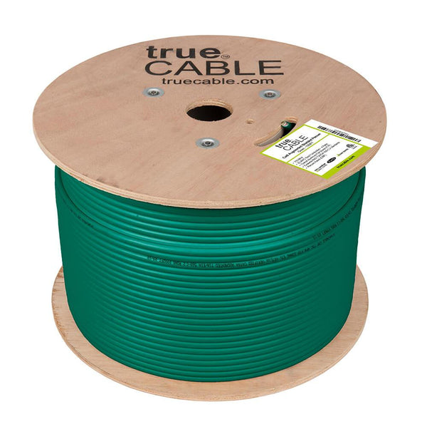 Cat6A Shielded Plenum Ethernet Cable Green 1000ft trueCABLE Reel No Wrap