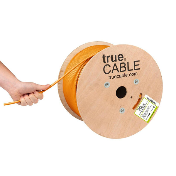 Cat6A Shielded Plenum Ethernet Cable Orange 1000ft trueCABLE Hand Pulling