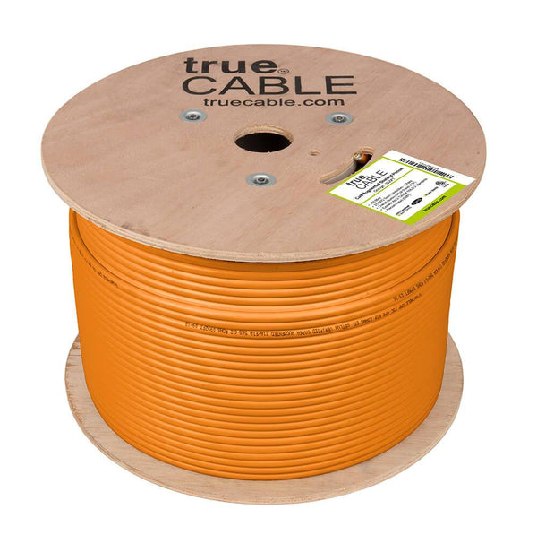 Cat6A Shielded Plenum Ethernet Cable Orange 1000ft trueCABLE Reel No Wrap