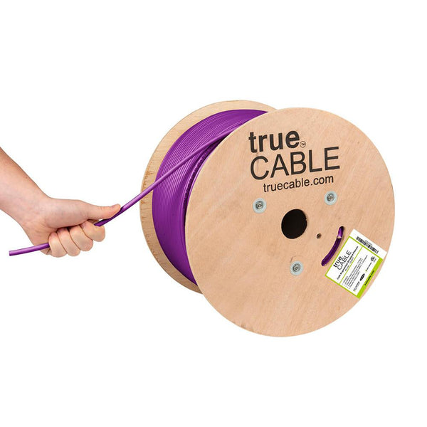 Cat6A Shielded Plenum Ethernet Cable Purple 1000ft trueCABLE Hand Pulling