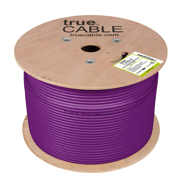 Cat6A Shielded Plenum Ethernet Cable Purple 1000ft trueCABLE Reel No Wrap