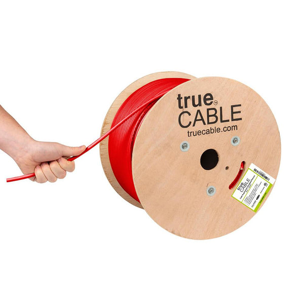 Cat6A Shielded Plenum Ethernet Cable Red 1000ft trueCABLE Hand Pulling