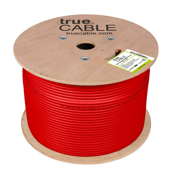 Cat6A Shielded Plenum Ethernet Cable Red 1000ft trueCABLE Reel No Wrap