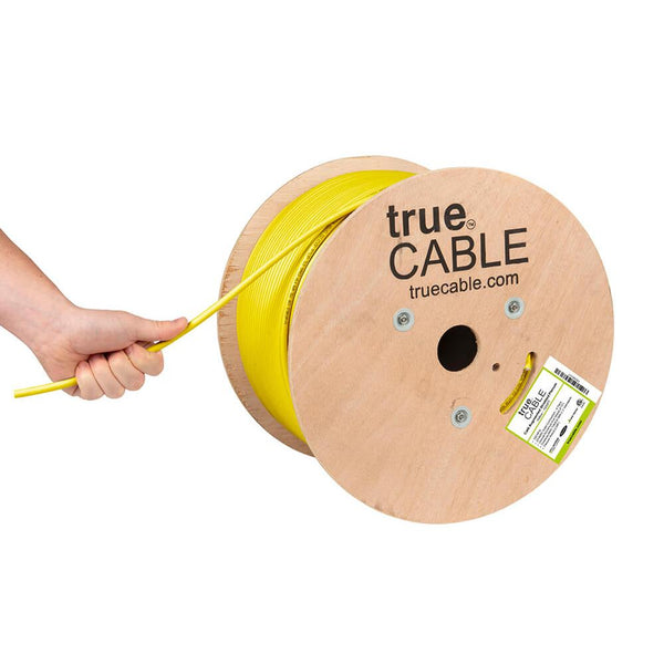 Cat6A Shielded Plenum Ethernet Cable Yellow 1000ft trueCABLE Hand Pulling