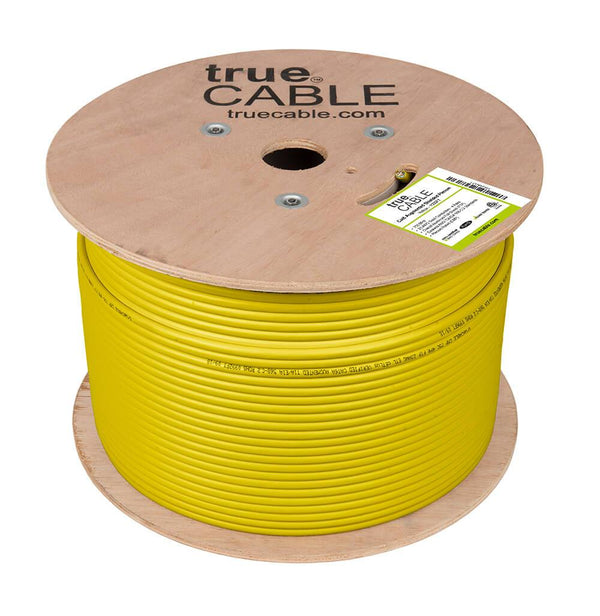 Cat6A Shielded Plenum Ethernet Cable Yellow 1000ft trueCABLE Reel No Wrap