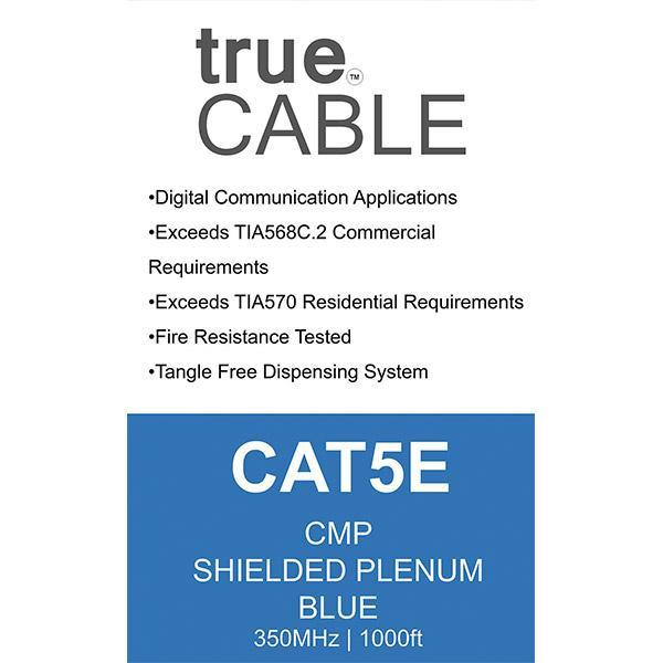 Cat5E Shielded Plenum Ethernet Cable Blue 1000ft trueCABLE Box Back