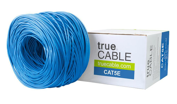 Cat5e Shielded Plenum Ethernet Cable Blue 1000ft trueCABLE Box Top