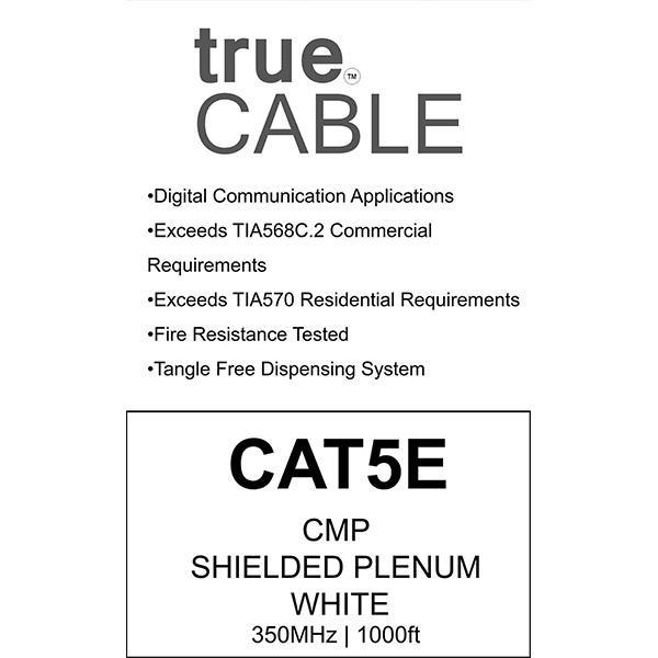 Cat5E Shielded Plenum Ethernet Cable White 1000ft trueCABLE Box Back