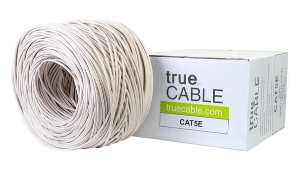 Cat5e Shielded Plenum Ethernet Cable White 1000ft trueCABLE Box Top