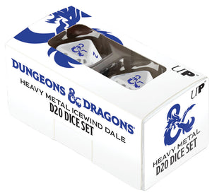 Dungeons and Dragons RPG: Icewind Dale - Heavy Metal - D20 White and Blue Dice Set (2)