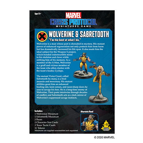 Marvel Crisis Protocol: Wolverine & Sabertooth Character