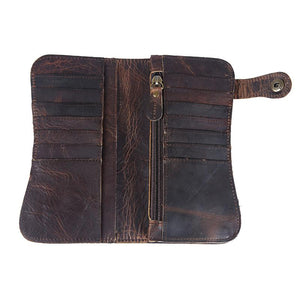 Engraved Leather Clutch Wallet W/Chain