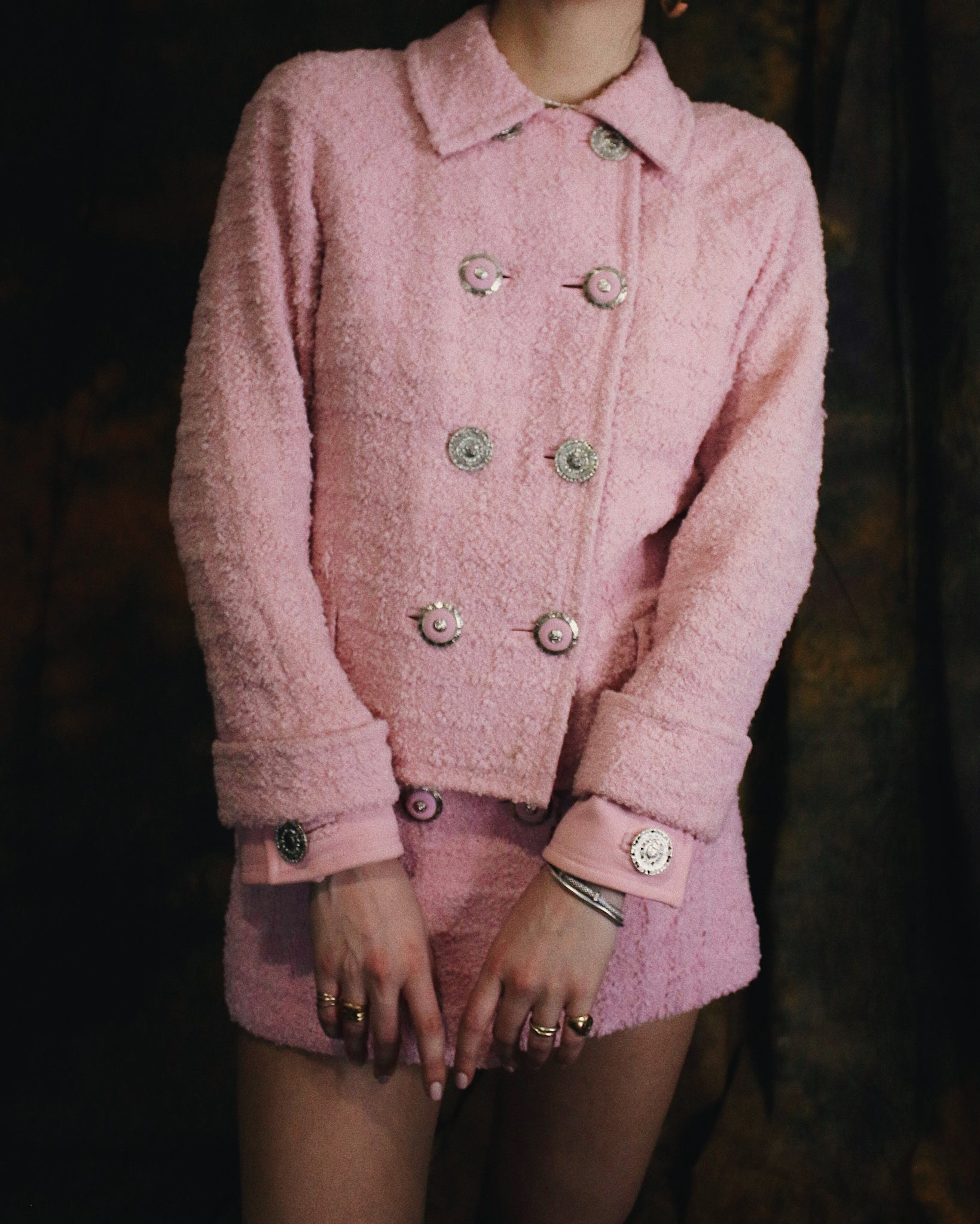 Gianni Versace Couture Pink Wool 2-Piece Jacket Skirt Suit Set 1990's