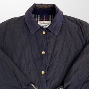 BURBERRY QUILTED NOVA CHECK LINED NAVY JACKET-BASEMENT SIX