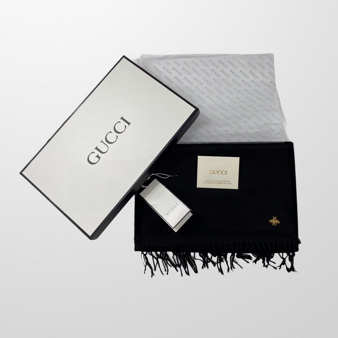 GUCCI GOLD BEE BLACK SCARF BOXED GIFT BNWT-BASEMENT SIX