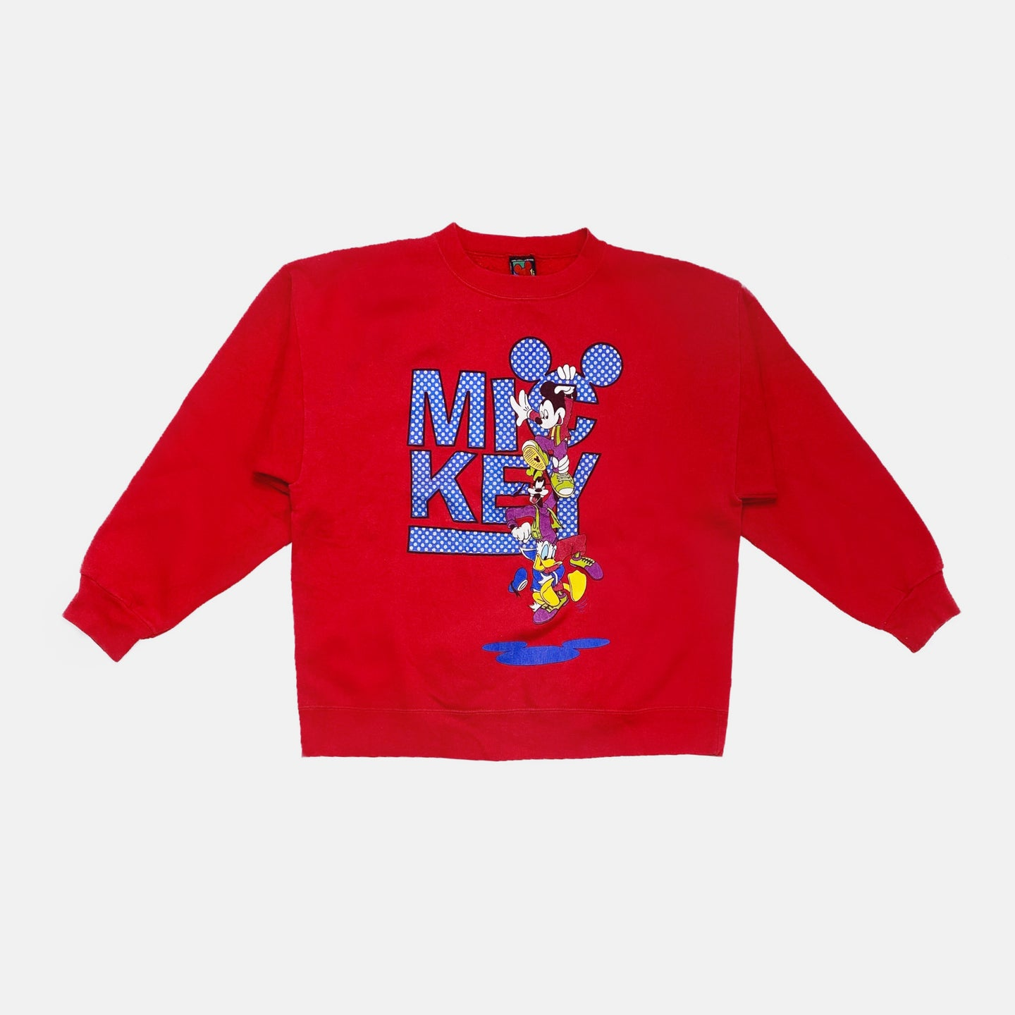 DISNEY MICKEY GOFFY DONALD GRAPHIC CREWNECK SWEATSHIRT-BASEMENT SIX