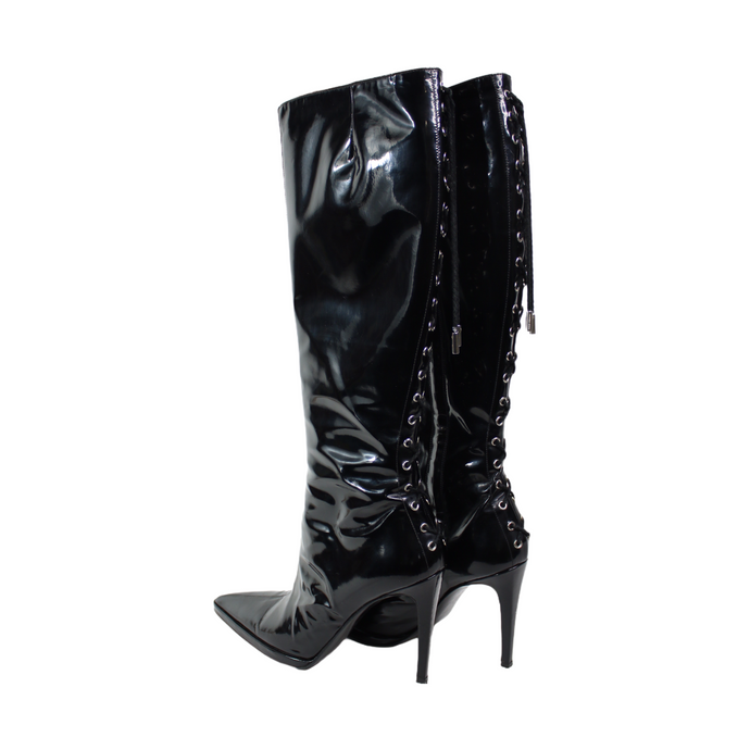 Versace Couture Patent High Lace Up Boots-BASEMENT SIX