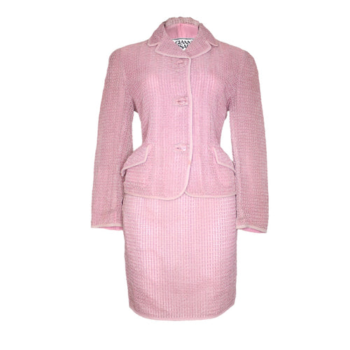 Gianni Versace Waffle Pink 2-Piece Jacket Skirt Suit Set 1990's-BASEMENT SIX