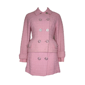 Gianni Versace Couture Pink Wool 2-Piece Jacket Skirt Suit Set 1990's-BASEMENT SIX