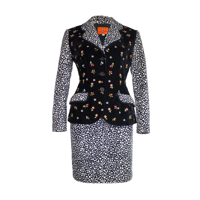 Kenzo Jungle Jacket Blazer Skirt Floral Velvet Suit-BASEMENT SIX