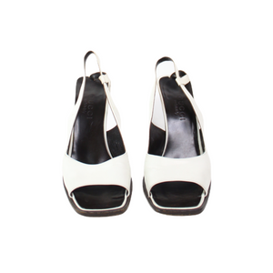 Gucci Slingback Peep Toe White Shoes-BASEMENT SIX