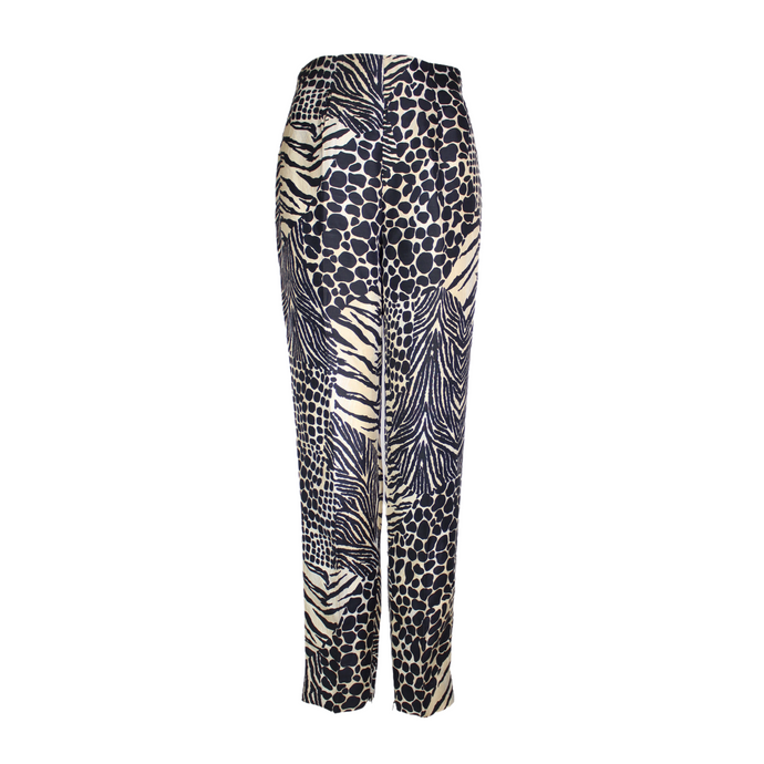 Dolce & Gabbana Zebra Animal Printed Silk Trousers-BASEMENT SIX