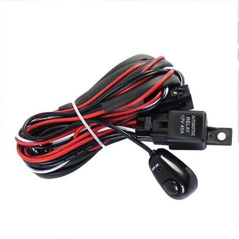 Wiring Harness Kit For LED Light Bar (Up to 300W) With Switch ... on maxi-seal harness, amp bypass harness, fall protection harness, obd0 to obd1 conversion harness, electrical harness, oxygen sensor extension harness, suspension harness, cable harness, alpine stereo harness, safety harness, radio harness, pony harness, nakamichi harness, dog harness, battery harness, engine harness, swing harness, pet harness,