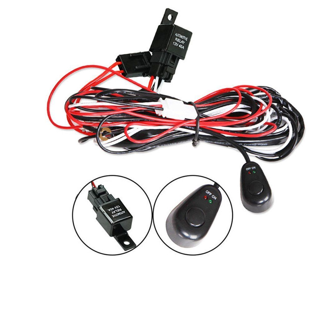 Wiring Harness Kit For Led Light Bar Up To 300w With Switch Relay Also Hover Zoom