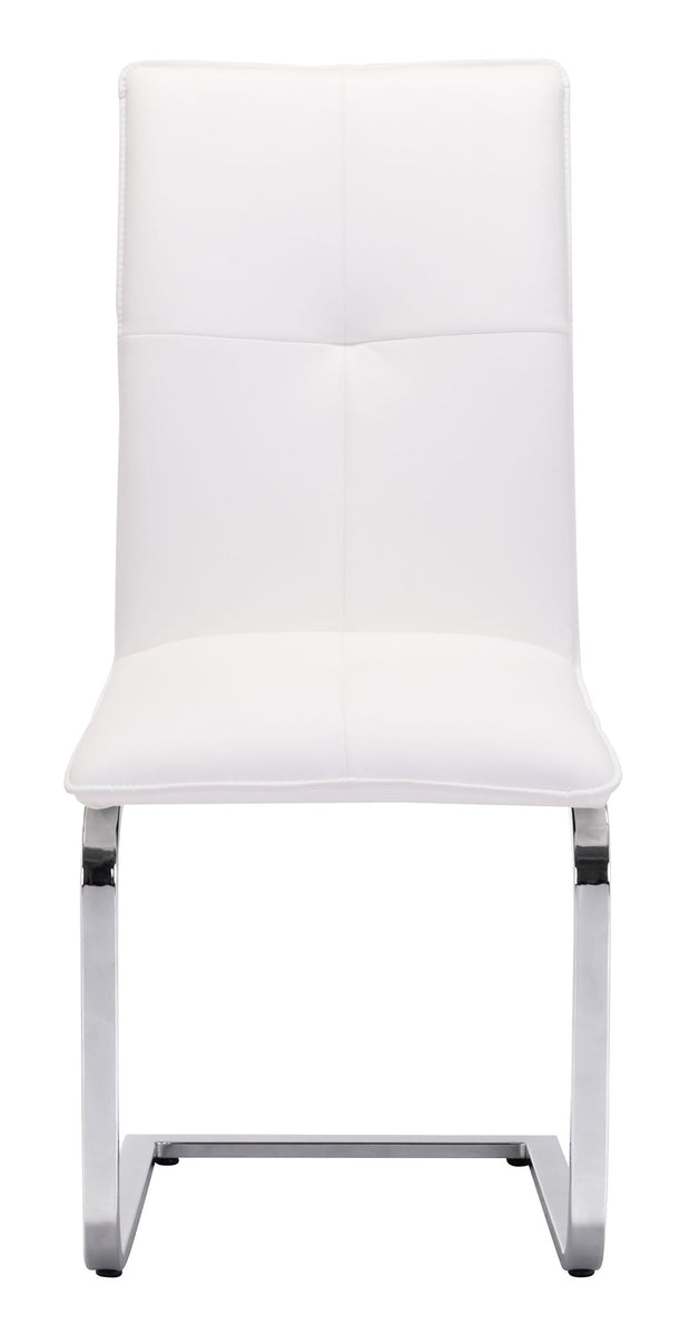 Anjou Dining Chair White is From the Indoor Collection designed in Chromed Steel and Leatherette. Anjou Collection part of the Chairs, Stools set.