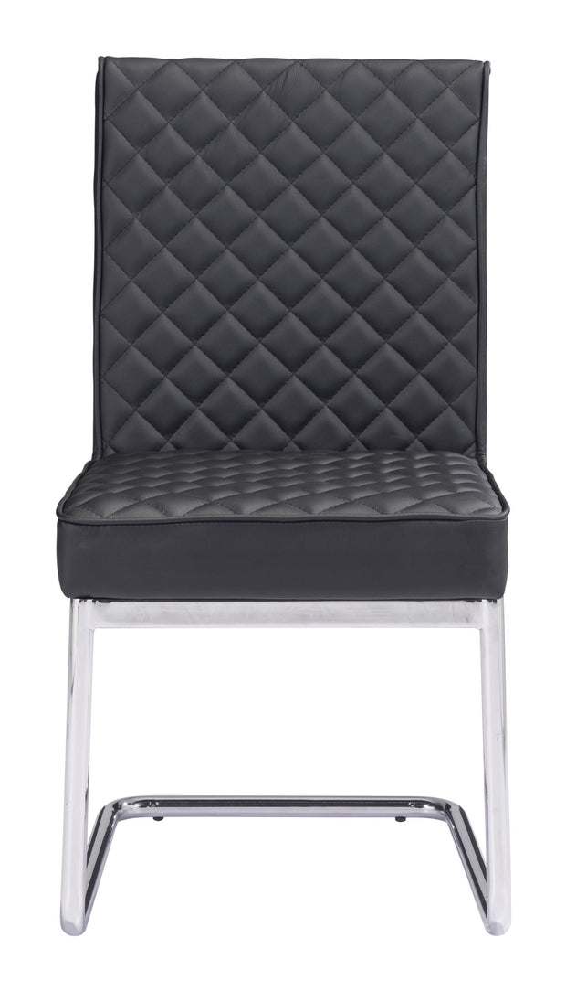 Quilt Armless Dining Chair Black From the Indoor Collection designed in Chromed Steel and Leatherette. Quilt Collection part of the Chairs, Stools set.