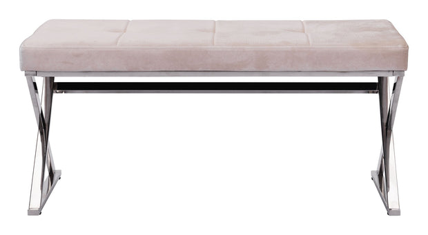 Allegiance Bench Beige Velvet is From the Indoor Collection designed in Polished Stainless Steel and Velvet. Allegiance Collection part of the Benches,Benches set.