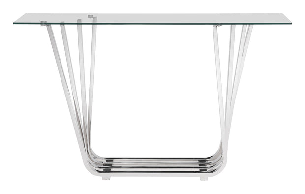 Fan Console Table is From the Indoor Collection designed in Stainless Steel and Tempered Glass. Fan Collection part of the Coffee, Side, Consoles,Coffee, Side, Consoles set.