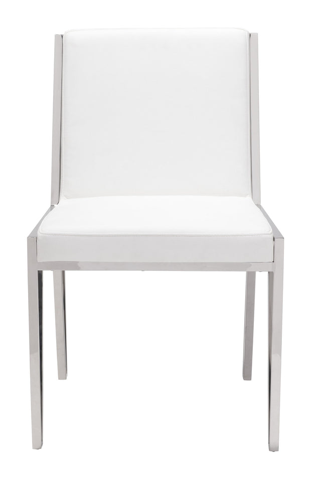 Kylo Dining Chair White is From the Indoor Collection designed in Polished Stainless Steel and Leatherette. Kylo Collection part of the Chairs, Stools set.
