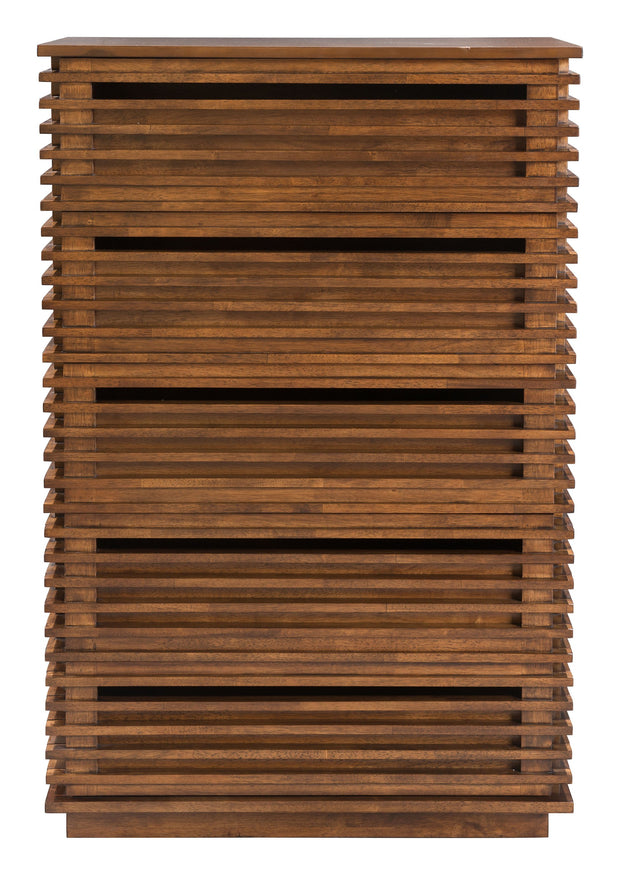 Linea High Chest From the Indoor Collection designed in Rubber Wood and MDF with Veneer . Linea Collection part of the Storage set.