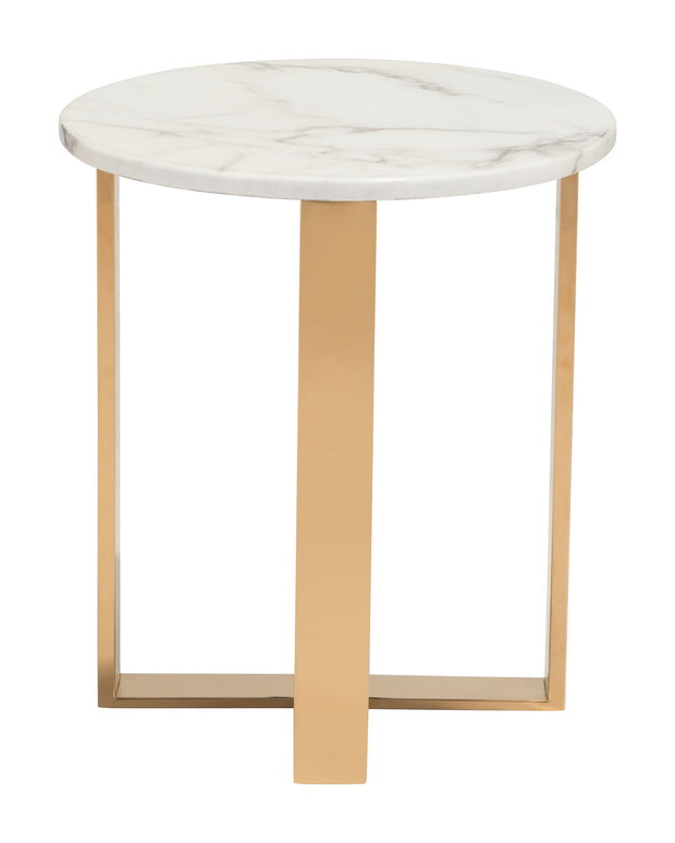 Atlas End Table Stone & Gold is From the Indoor Collection designed in Brass-Plated Steel and Faux Marble. Atlas Collection part of the Coffee, Side, Consoles set.
