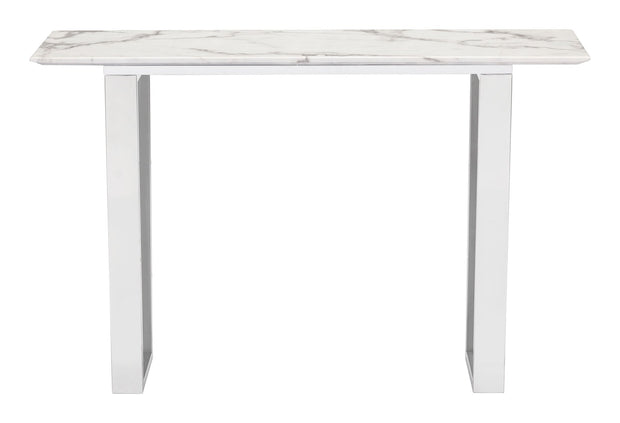 Atlas Console Table Stone & Brushed Stainless Steel is From the Indoor Collection designed in Brushed Ss and Faux Marble. Atlas Collection part of the Coffee, Side, Consoles set.