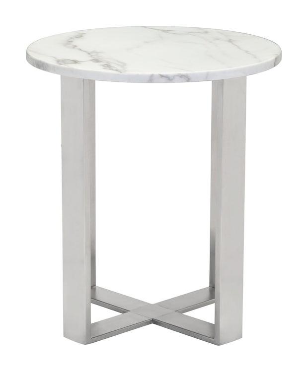 Atlas End Table Stone & Brushed Stainless Steel is From the Indoor Collection designed in Brushed Ss and Faux Marble. Atlas Collection part of the Coffee, Side, Consoles set.