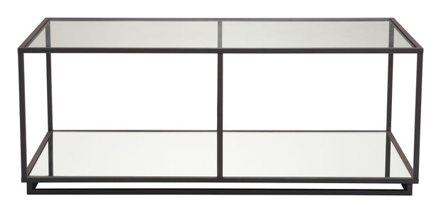 Kure Coffee Table- Distressed Black From the Indoor Collection designed in Steel and Tempered Glass, Mirror. Kure Collection part of the Coffee, Side, Consoles set.