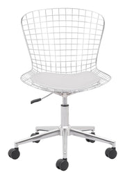 Wire Office Chair Chrome w/ White Cushion From the Indoor Collection designed in Chromed Steel and Leatherette. Wire Collection part of the Chairs set.