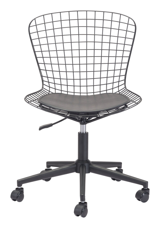 Wire Office Chair Black w/ Black Cushion From the Indoor Collection designed in Chromed Steel and Leatherette. Wire Collection part of the Chairs set.