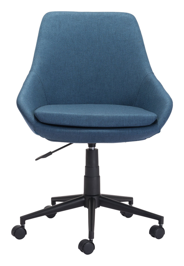 Powell Office Chair Blue From the Indoor Collection designed in Black Painted Steel Base and Poly Linen. Powell Collection part of the Chairs set.