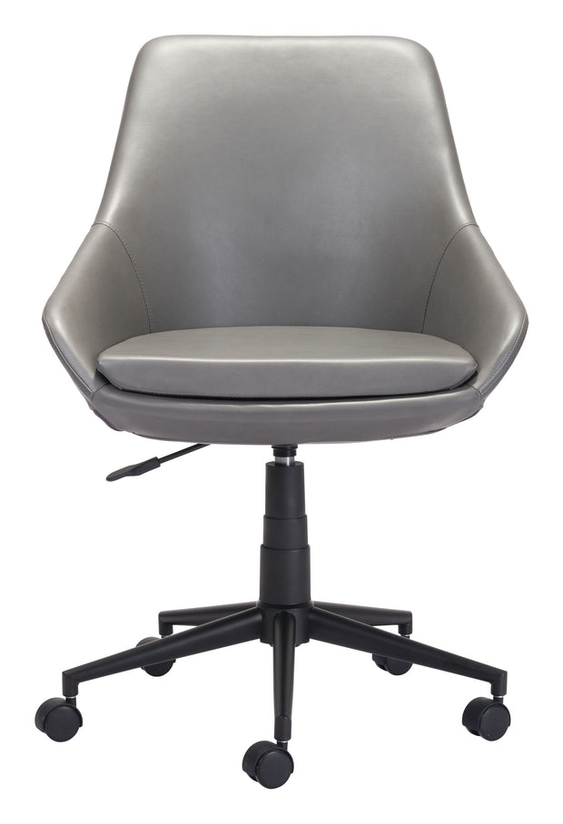 Powell Office Chair Gray From the Indoor Collection designed in Black Painted Steel Base and Leatherette. Powell Collection part of the Chairs set.