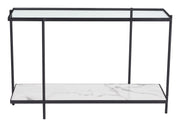 Winslett Console Table Clear & White & Matt Black From the Indoor Collection designed in Steel and Tempered Glass, Faux Marble. Winslett Collection part of the Coffee, Side, Consoles set.