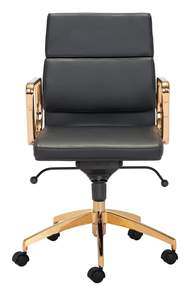 Scientist Low Back Office Chair Blk & Gd From the Indoor Collection designed in Chromed Steel and Leatherette. Scientist Collection part of the Chairs set.