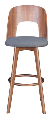Anton Barstool Walnut & Dark Gray From the Indoor Collection designed in MDF, Rubber Wood and Poly Blend, Wood Veneer. Anton Collection part of the Chairs, Stools set.