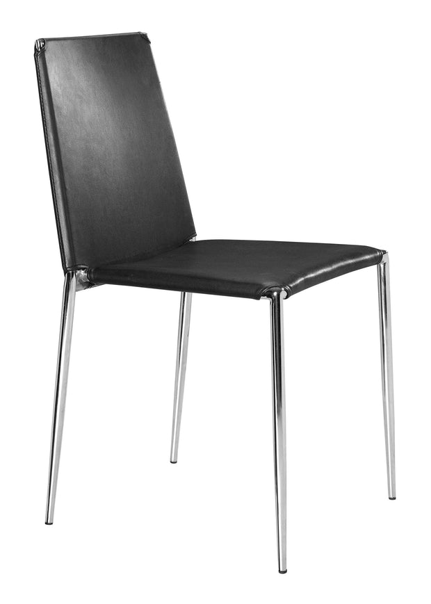 Alex Dining Chair Black is From the Indoor Collection designed in Chromed Steel and Leatherette. Alex Collection part of the Chairs, Stools set.