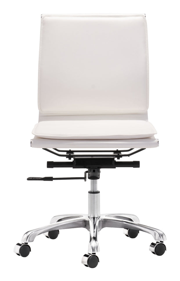 Lider Plus Armless Office Chair White is From the Indoor Collection designed in Chromed Steel and Leatherette. Lider Plus Collection part of the Chairs set.